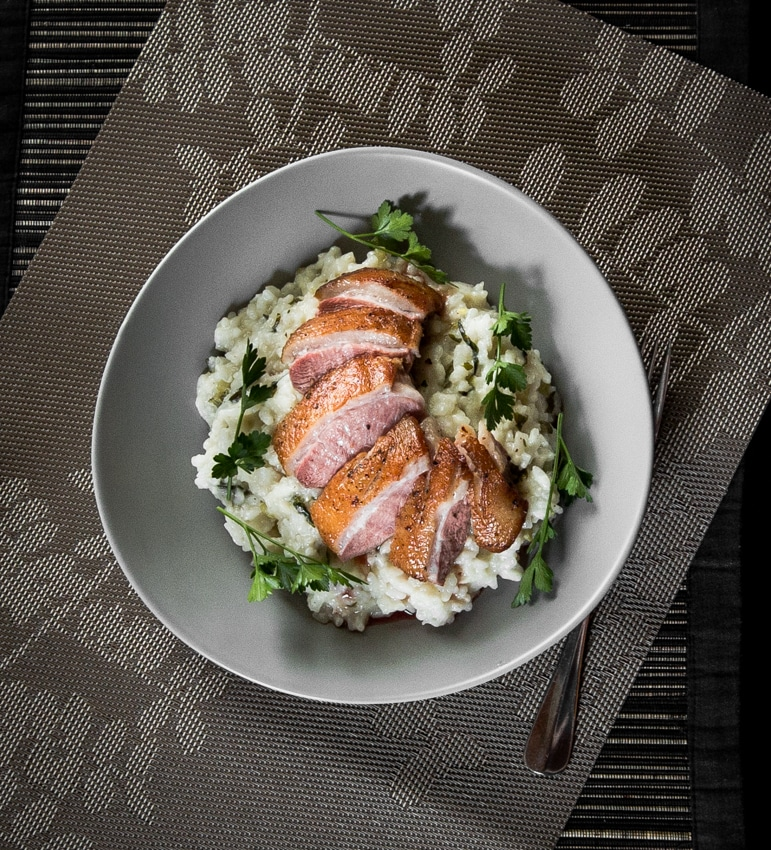 This pan-seared duck breast on risotto is simple and stress-free, along with being dang tasty. Perfect to cook for a date too ;)