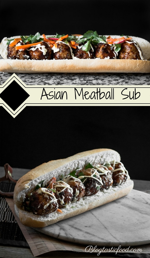 An Asian meatball sub recipe presented in the form of the pin for Pinterest.