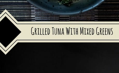 A seared tuna with mixed greens recipe presented in the form of a pin for Pinterest.