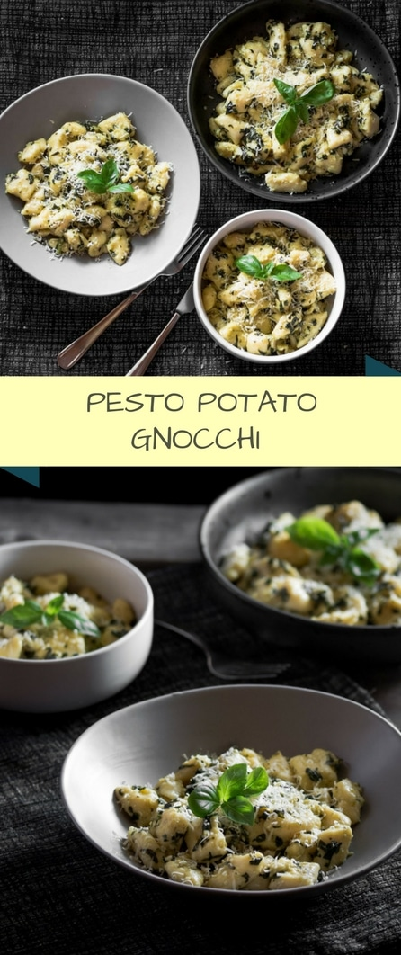 A pesto potato gnocchi recipe presented in the form of a pin for Pinterest.