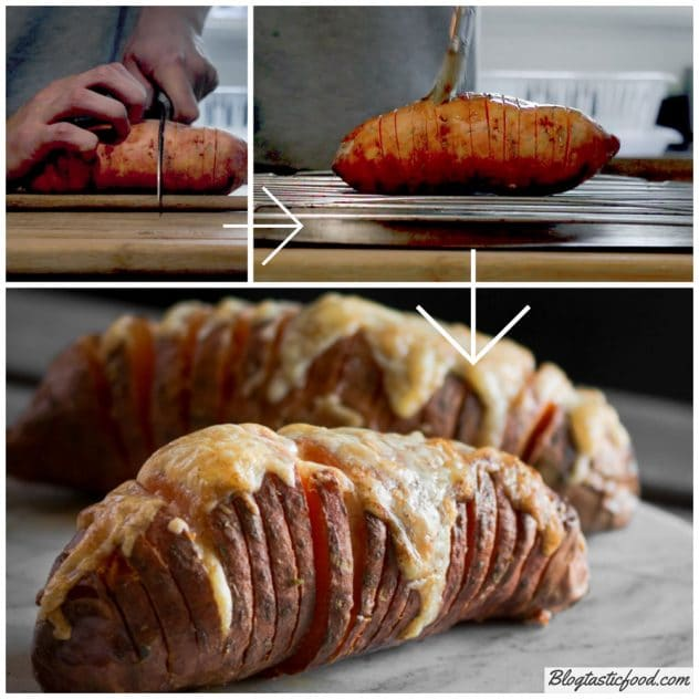 A series of photo showing what a hasselback sweet potato look like in it's raw state, and in it's cooked state.