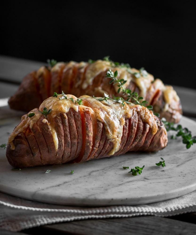 Hasselback Sweet Potatoes with Garlic and Chilli Oil