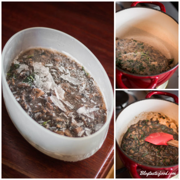 A step by step guide showing how to re-heat frozen mushroom gravy in a pot.