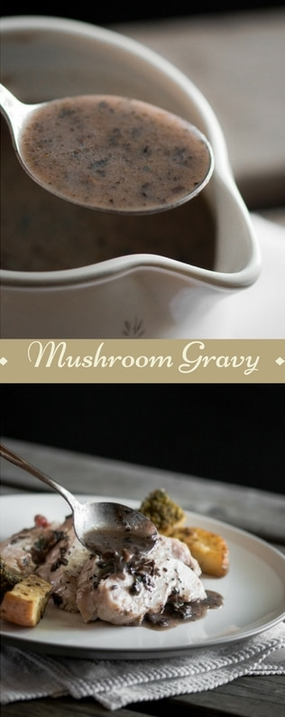 A mushroom gravy recipe presented in the form of a pin for Pinterest.
