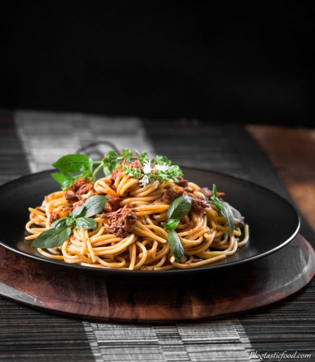 Slow cooker Shredded Beef Bolognese with al dente Spaghetti
