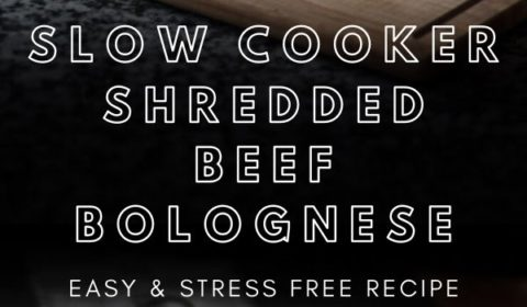 a slow cooker shredded beef bolognese recipe presented in the form of a pin for Pinterest.