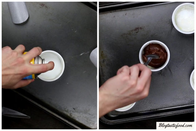 A callage of photos showing me spray a lined and greased ramekin, and then filling it wih chocolate lava cake batter.
