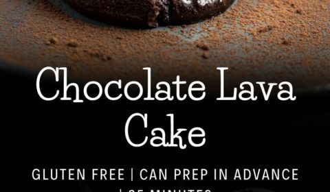 A molten chocolate lava cake recipe presented in the form of a pin for pinterest.