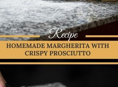 A pizza Margherita recipe presented int he form of a pin for Pinterest.