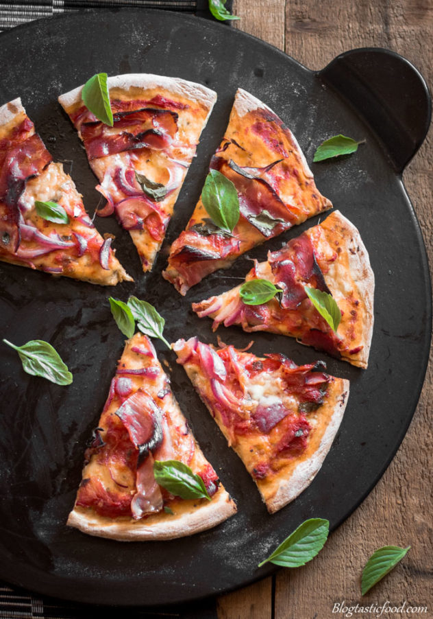 A wonderful Homemade Margherita Pizza with Crispy Prosciutto and Crispy Crust. Are you licking your lips yet?