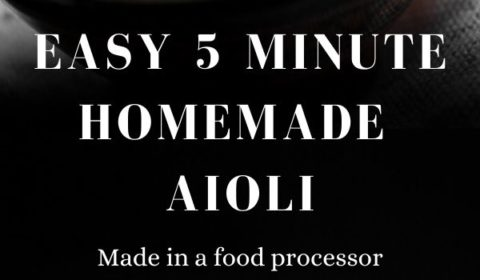 A 5 minute aioli recipe presnted in the form of a pin for Pinterest.