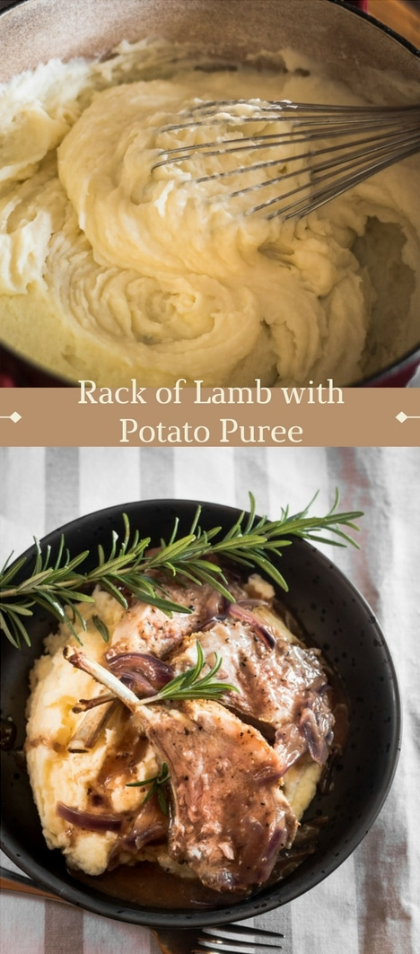 An Easter lamb rack with potato puree recipe presented in the form of a pin for Pinterest.