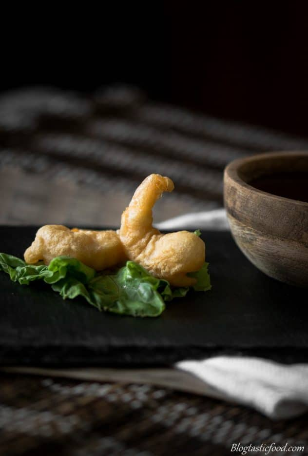 Crispy, light delicious batter. Tempura prawns are the best!! Served with the most amazing sweet and sour soy dipping sauce. Give it a go!!
