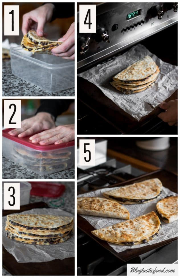 A step by step collage showing the best way to defrost chicken quesadillas using an oven.