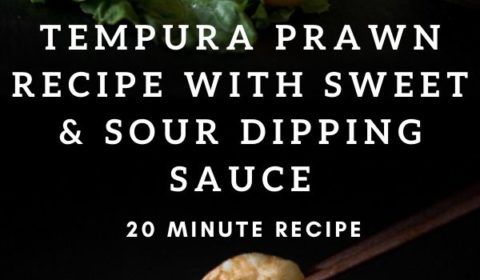 A tempura prawn recipe presented in the form of a pin for Pinterest.