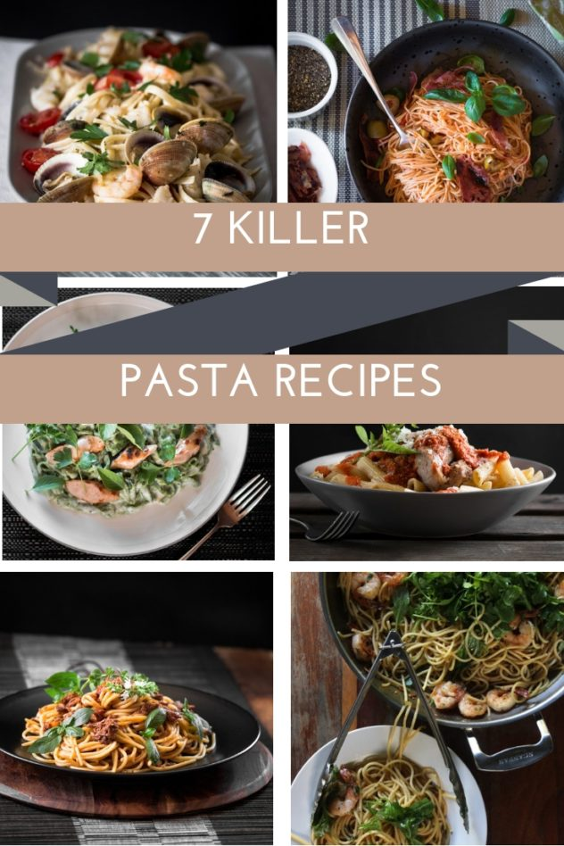 A post featuring 7 pasta recipe presented as a front cover and as a pin for Pinterest.
