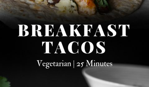 A breakfast taco presented in the form of a pin for Pinterest.