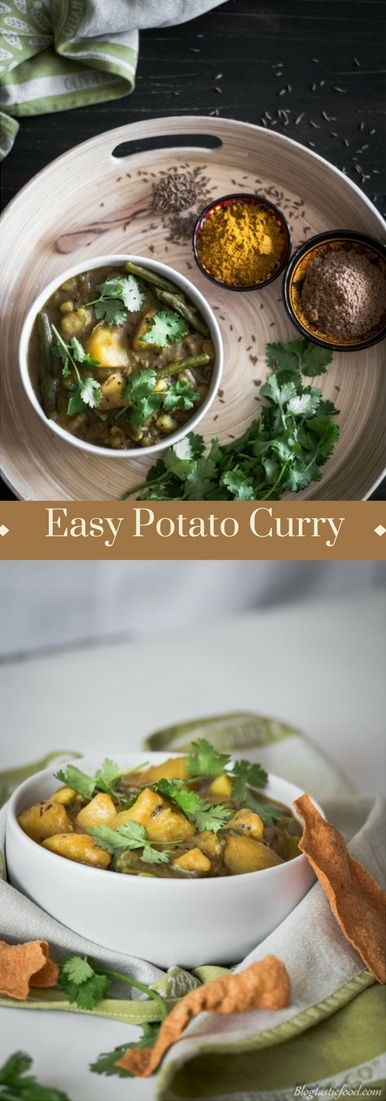 A potato curry recipe presented in the form of a pin for Pinterest.