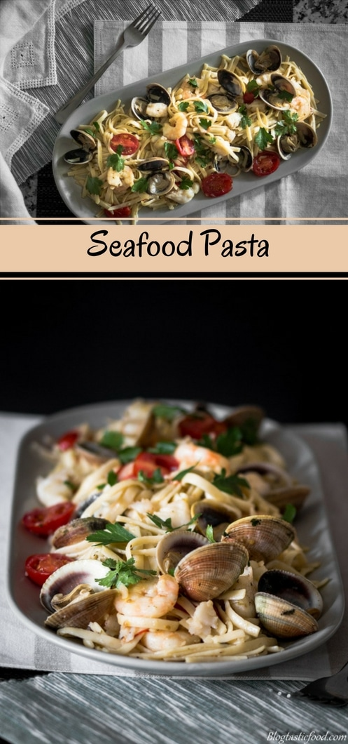 A seafood linguine recipe presented in the form of a pin for Pinterest.