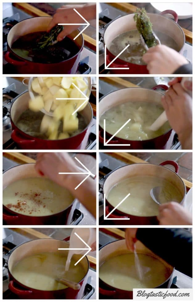 A step by step series of photos showing how to make vegan cauliflower soup.