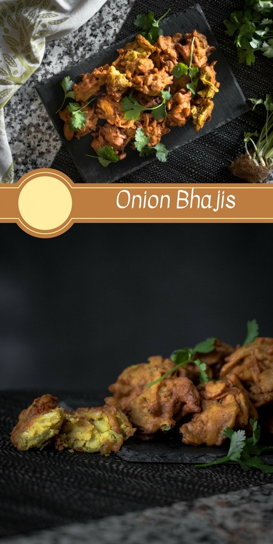 An onion bhaji recipe presented in the form of a pin for Pinterest.