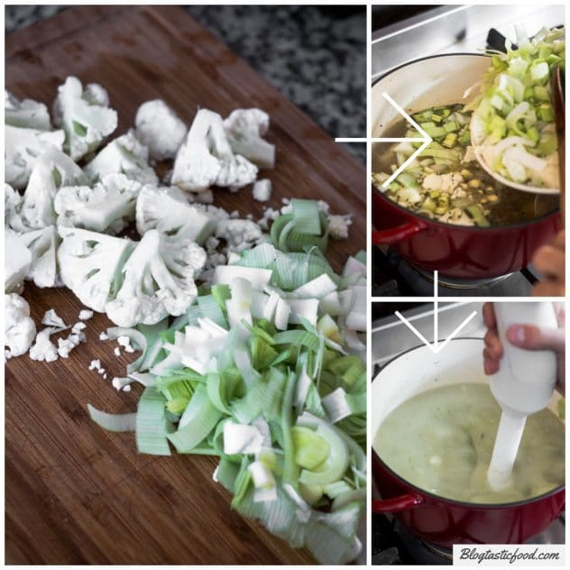 A step by step series of photos how how to add cauliflower and leek to a soup.