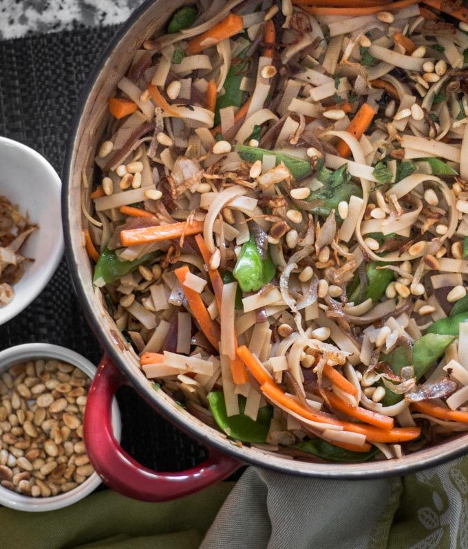 Rice Noodles with Balsamic Onions
