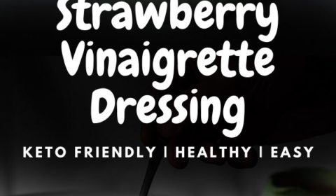 a strawberry vinaigrette recipe presented in the form of a pin for Pinterest.