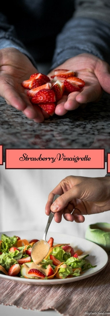 Why not experiment with a basic dressing by adding #fruit? This #strawberry #vinaigrette has a wonderful flavour and the fruit allows the oil to blend in much more easily. Oh, and did I mention that it takes no longer than 5 minutes to make?