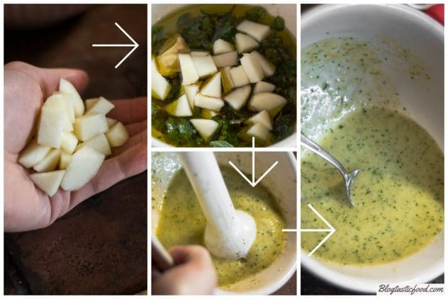 A step by step series of images showing how to make an apple vinaigrette using a hand blender.