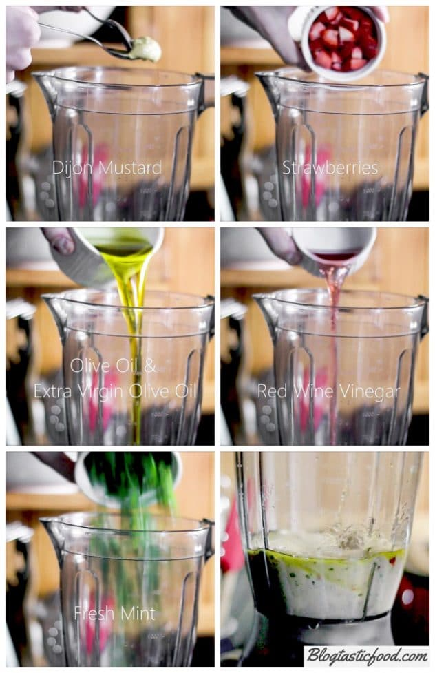 A collage of images showing how to make a strawberry vinaigrette in a blender step by step.