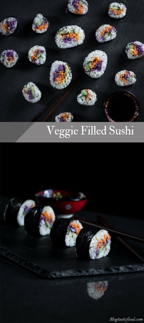This sushi recipe is vegan-friendly and very fun to make. And it's filled with an amazing carrot and purple cabbage slaw. Super fresh and super vibrant, give it a go!