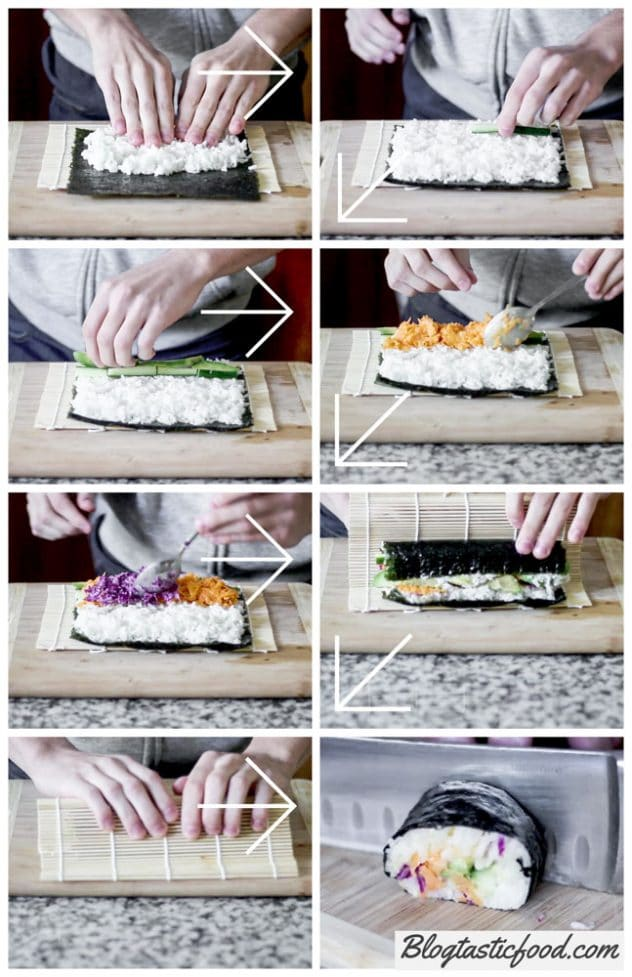 8 images in the form of a step by step guide on how to roll sushi.