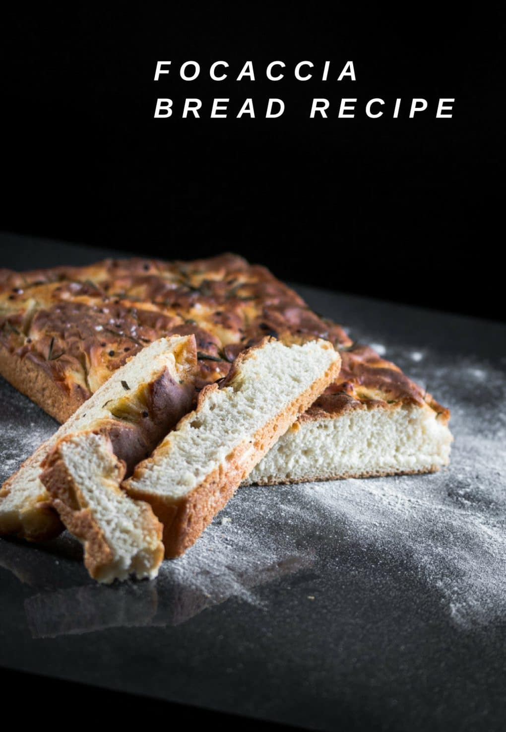 A focaccia bread recipe that is presented in the form of a pin for Pinterest.