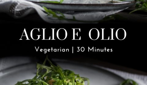 An aglio e olio recipe presented in the form of a pin for Pinterest.