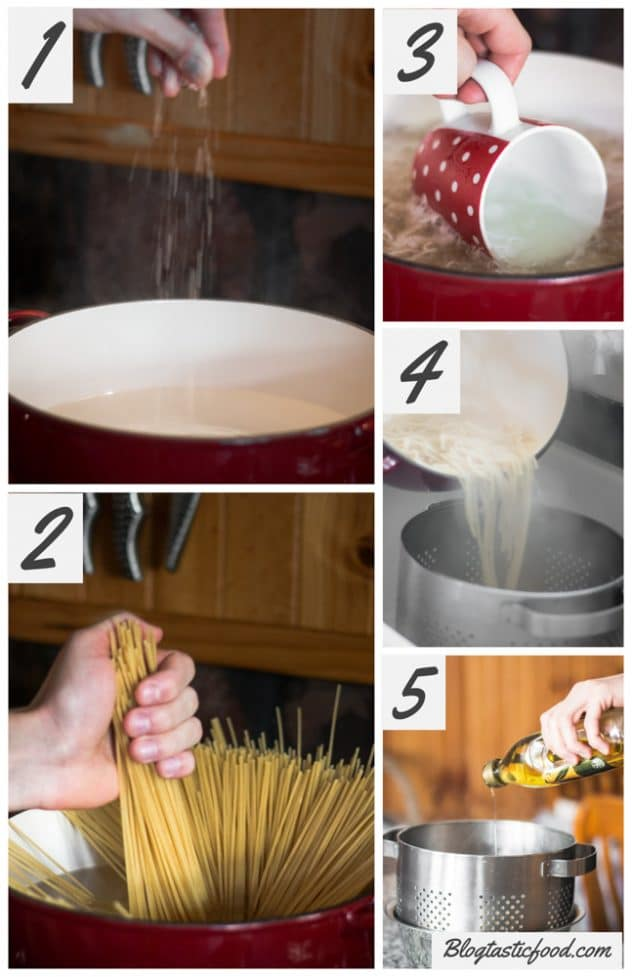 A step by step series of images showing how to cook and drain spaghetti.