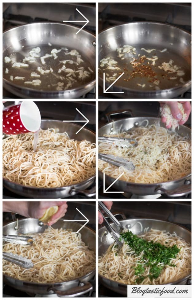 A step by step series of images showing garlic and chilli flakes being fried. Then cooked spaghetti, Parmesan, lemon juice and parsley being added and stirred through.