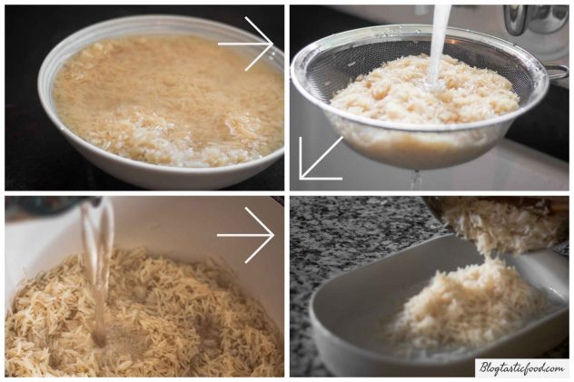 Four iages that show a step by step process on how to cook and prepare rice to make fried rice.