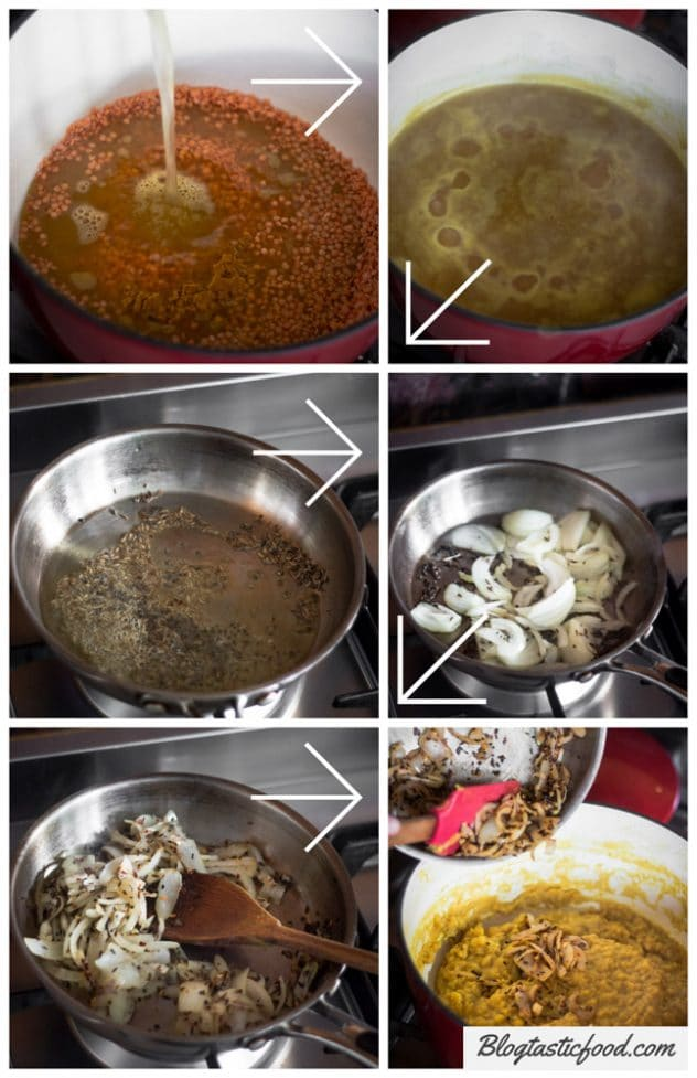 A step by step series of photos showing how to make red lentil dhal.