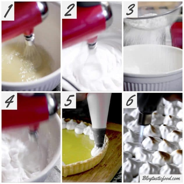 A step by step guide on how to make vegan meringue for lemon meringue pie.