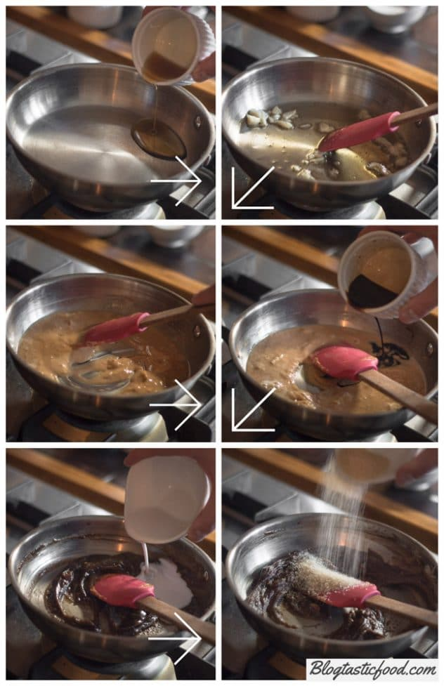 6 photos shown in the form of a step by step guide on how to make peanut satay sauce.