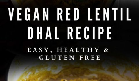 A red lentil dhal recipe presented in the form of a pin for Pinterest.