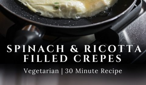 A spinach and ricotta filled crepe recipe presented in the form of a pin for Pinterest.