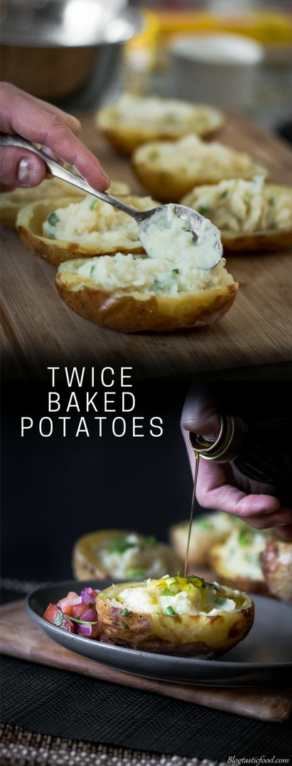 A recipe of twice baked potatoes presented in the form of a pin for Pinterest.