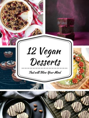 A vegan dessert roundup post presented in the form of a pin for Pinterest.
