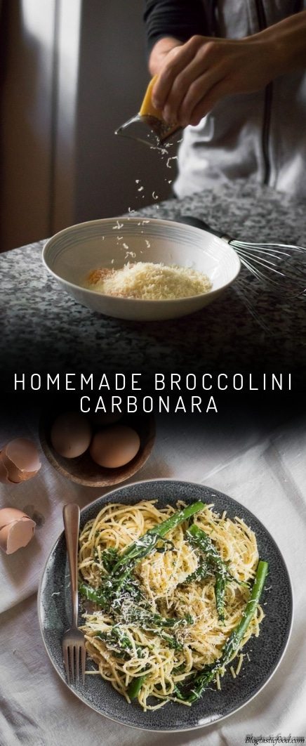 A broccolini carbonara recipe presented in the form of a pin for Pinterest.
