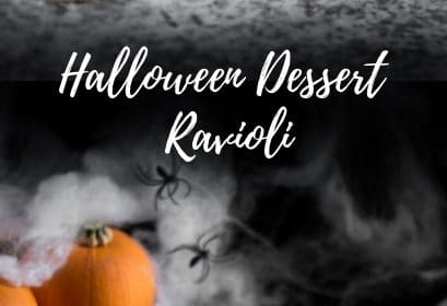 A Halloween pumpkin dessert ravioli recipe presented in the form of a pin for Pinterest.