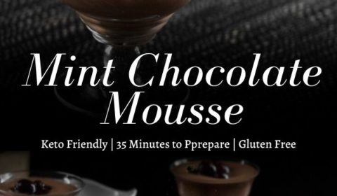 A mint chocolate mousse with soaked cherries recipe presented in the form of a pin for Pinterest.