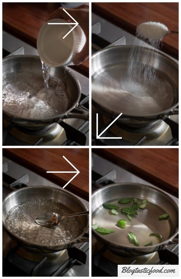 A step by step series of photos demonstrating how to make lime and mint infused sugar syrup.