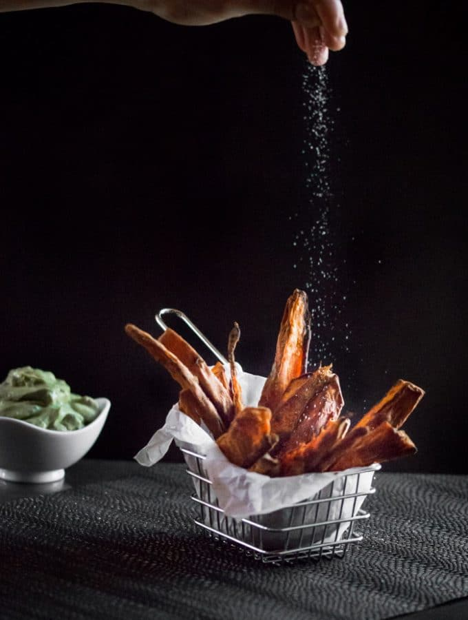 Sweet Potato Wedges with Avocado and Sour Cream Dip